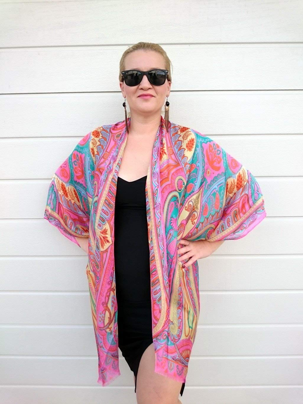 3c34f345621 Get Quotations · Pink Paisley Kimono Robe