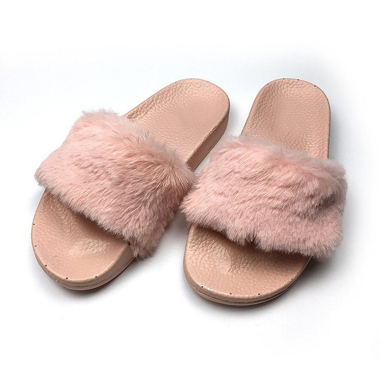 866e848704420 2017 Korean Girls Fashion Flat Indoor And Outdoor Antiskid Plush Fur ...