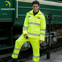 Hi Vis waterproof breathable reflective safety clothing, mens security reflective safety jacket