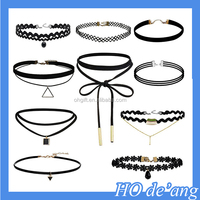 Hogift Lace Choker Necklaces with Pendant(Black)