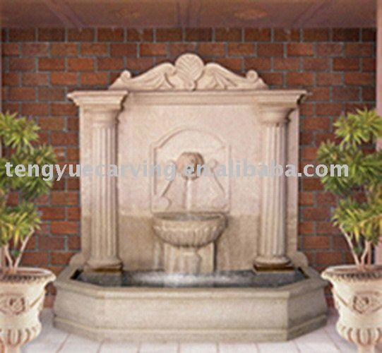 Fuente de pared exterior beautiful fuente cntaros de agua sobre madera luces led altura cm with - Fuentes de pared de piedra ...