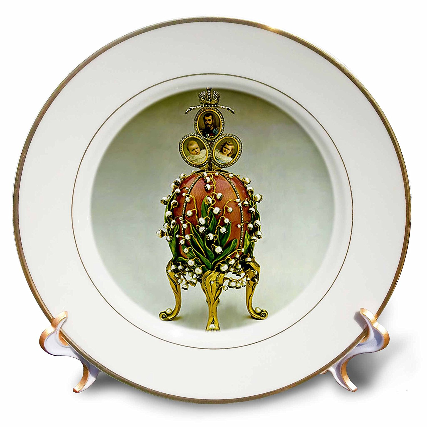 Faberge® Eggs - Picturing Faberge® Egg Lilies Of The Valley - 8 inch Porcelain Plate (cp_565_1)