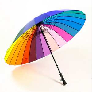 Unionpromo anti 190T nylon fabric color wheel rainbow umbrella 24 wholesale