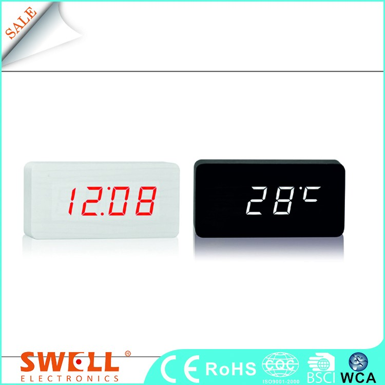 hot sale wood led digital alarm table clock , wood digital led decoration desk alarm clock