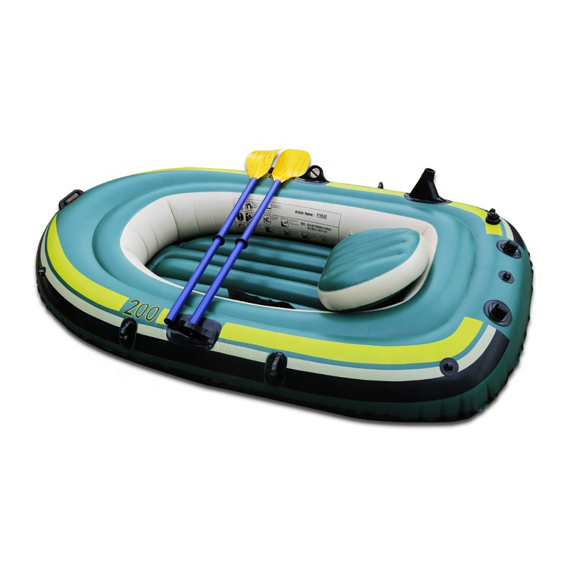Wholesale Green 2 person Portable Inflatable Rafting Rib Fishing <strong>Boat</strong> With Cushion