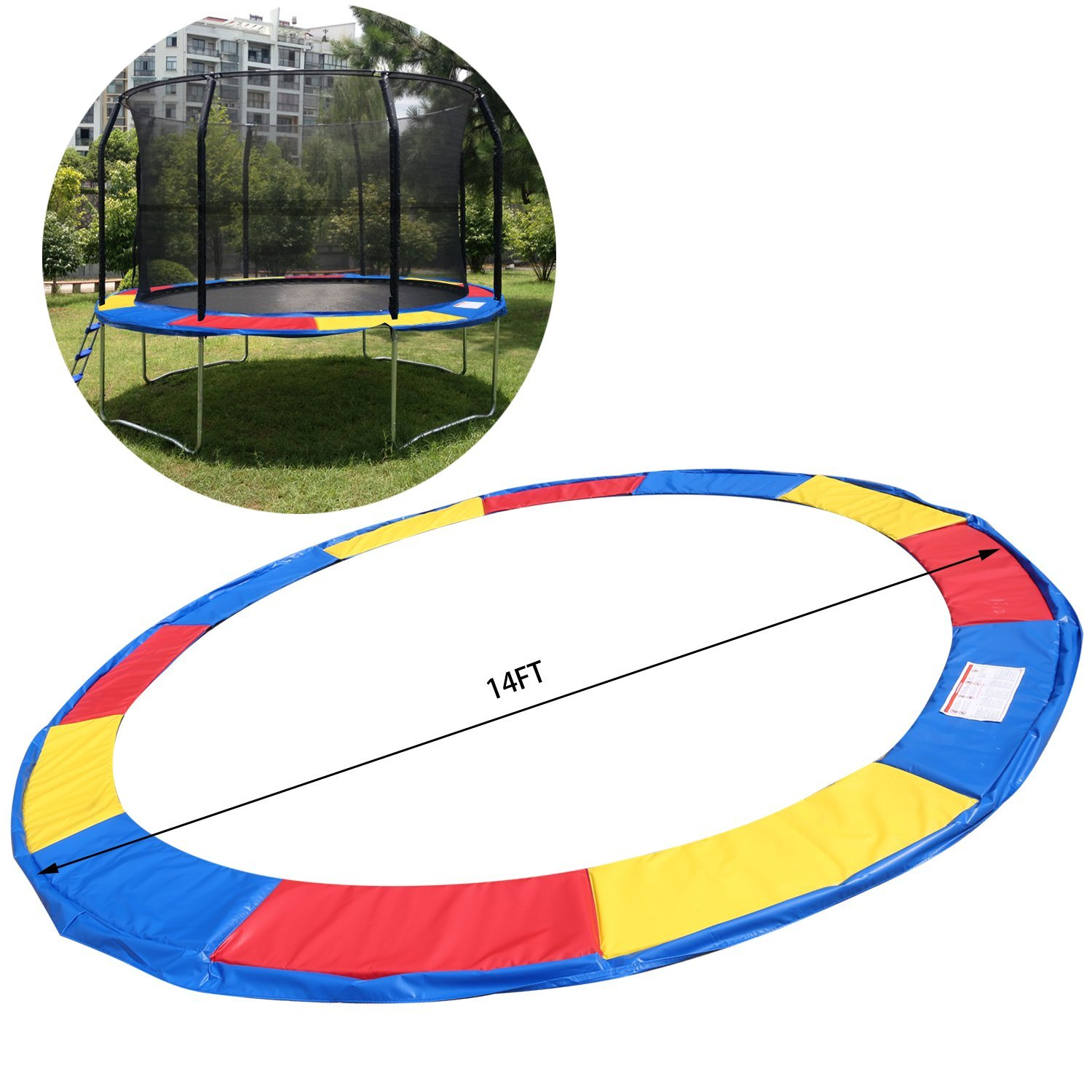 US STOCK Etuoji 10Ft//12Ft//14Ft//15Ft Trampoline Safety Pad,15mm Safety Heavy Duty Waterproof Spring Round Frame Pad
