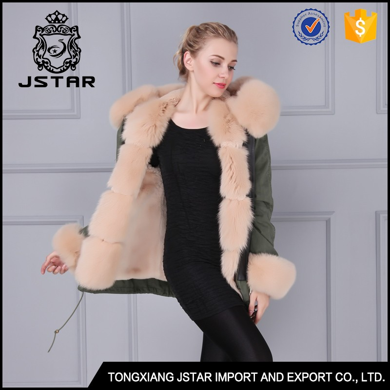 Women's European luxury fur hooded ski jacket for women with fur trim