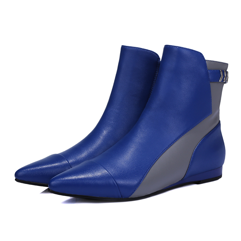 096b75f0140 Get Quotations · 2015 new fashion women ankle boots genuine leather pointed  toe zipper casual boots wedge heel ankle
