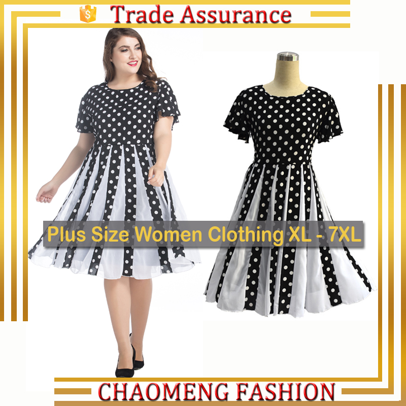9049# Latest Frock Designs For Women Polka Dot Long Dress Chiffon New Style Plus Size Women Clothing