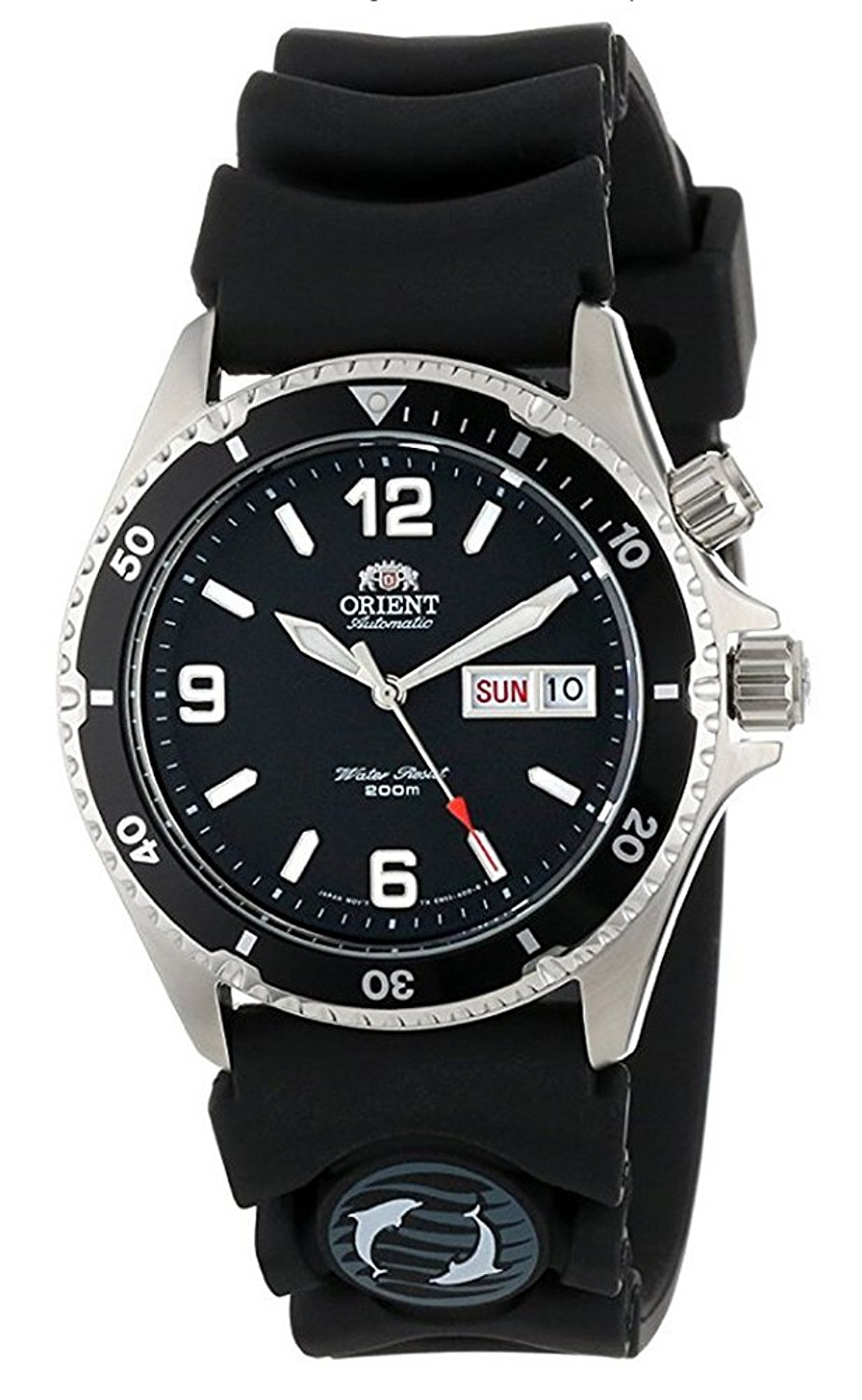 fb0ae7e0743 Get Quotations · Orient Mako Black Dial Automatic Dive Watch with Rubber  Dive Strap EM65004B