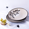 Leaf embossed design stoneware porcelain plate for Chinese and western cutlery