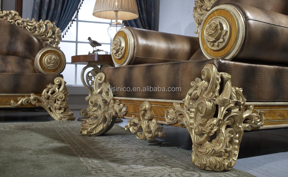 Bisini Luxury Sofa Furniture, Dubai Luxury Genuine Leather Sofa Furniture,  Solid Wood Mansion Living