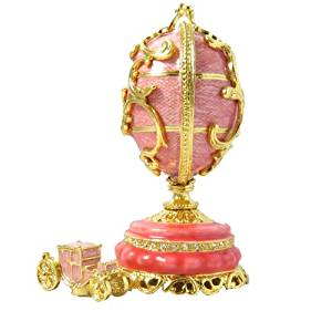 Faberge Style Russian Flamingo Pink Enamel Egg And Floral Basket With Swarovski Elements Crystal Trinket Pill Jewelry Box