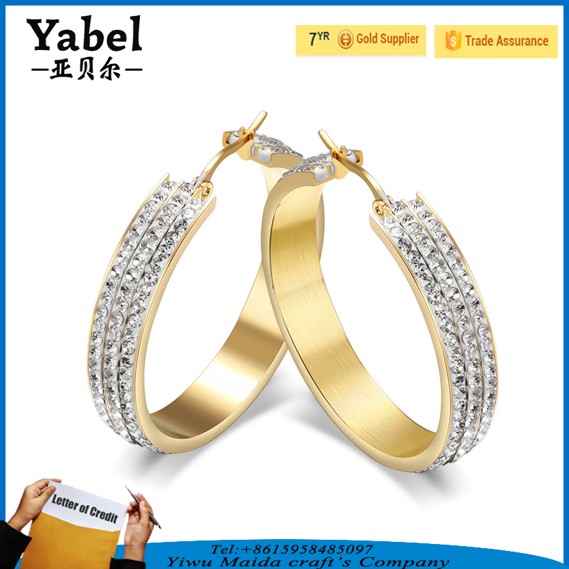 Hot Sale Stainless Pierced Large Gold Hoop Pave Diamond Earrings Women