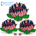 Free sample cheap custom metal novelty crafts silver plated hard enamel hong kong flower lotus lapel pin no minimum