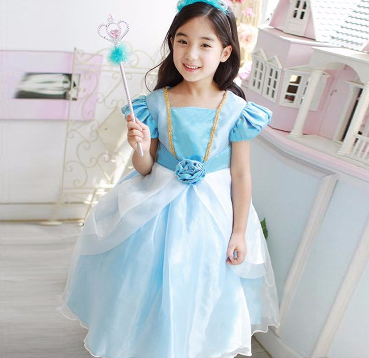 New Nip Disney Baby Girls Halloween Cinderella Costume 6: Cinderella Girl Dress Blue Children Christmas Party