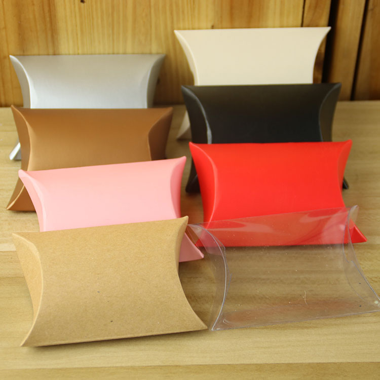New arrival different colors kraft paper pillow <strong>box</strong>