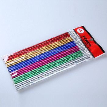 standard hb wooden pencil with rubber, glittery shrink film, laser foil