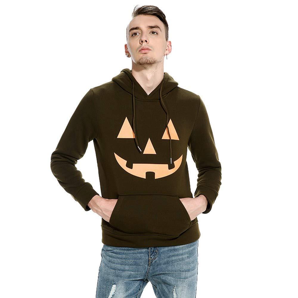 Zulmaliu Mens Hoodie,Halloween Male Pumpkin Face Hooded Sweatshirts Shirt Long Sleeve Sport Coat Blouse