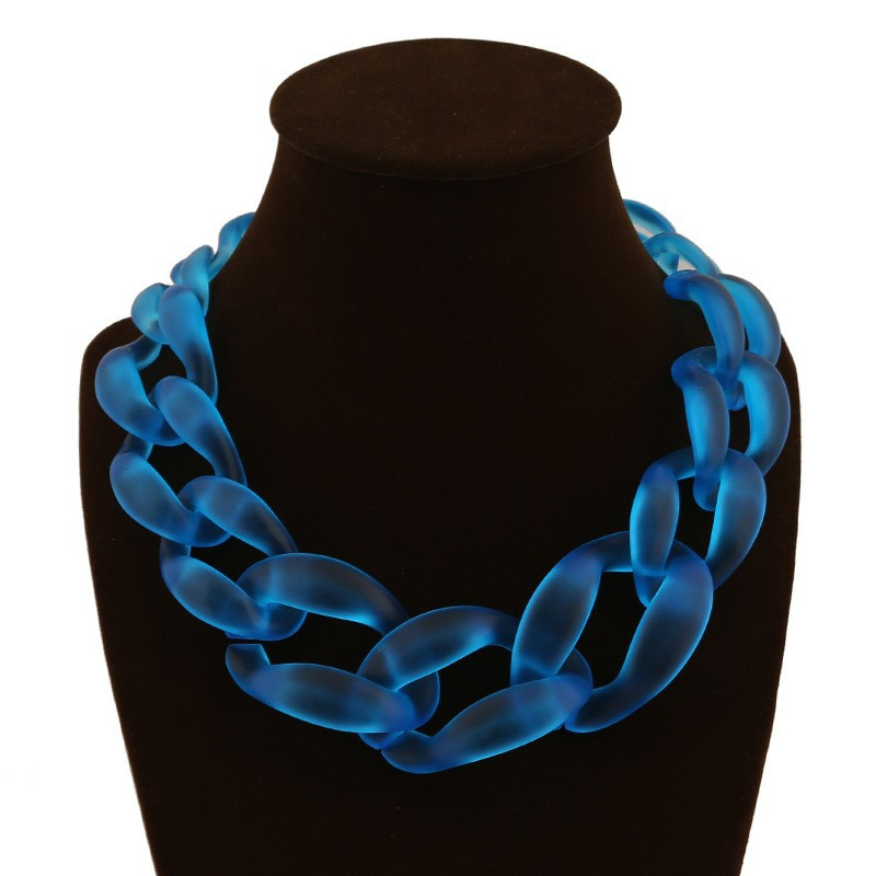 C85476A Acrylic color jelly exaggerated twist knit necklace/western women necklace