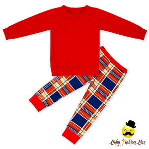 Fancy Kids Long Sleeve Plain Red Blank Shirt Top Matching Check Long Pants Boutique Outfit Baby Girl Fall Pajamas Clothing Set