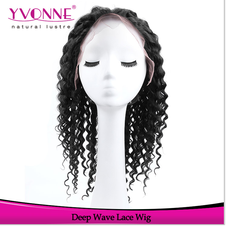 Hot sales glueless brazilian human hair wigs with baby hair deep wave wigs