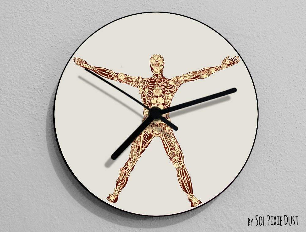 Funny Robot Vitruvian Man 3, Leonardo da Vinci, Anatomy, Leonardo Da Vinci Drawing, Da Vinci Illustration, - Wall Clock
