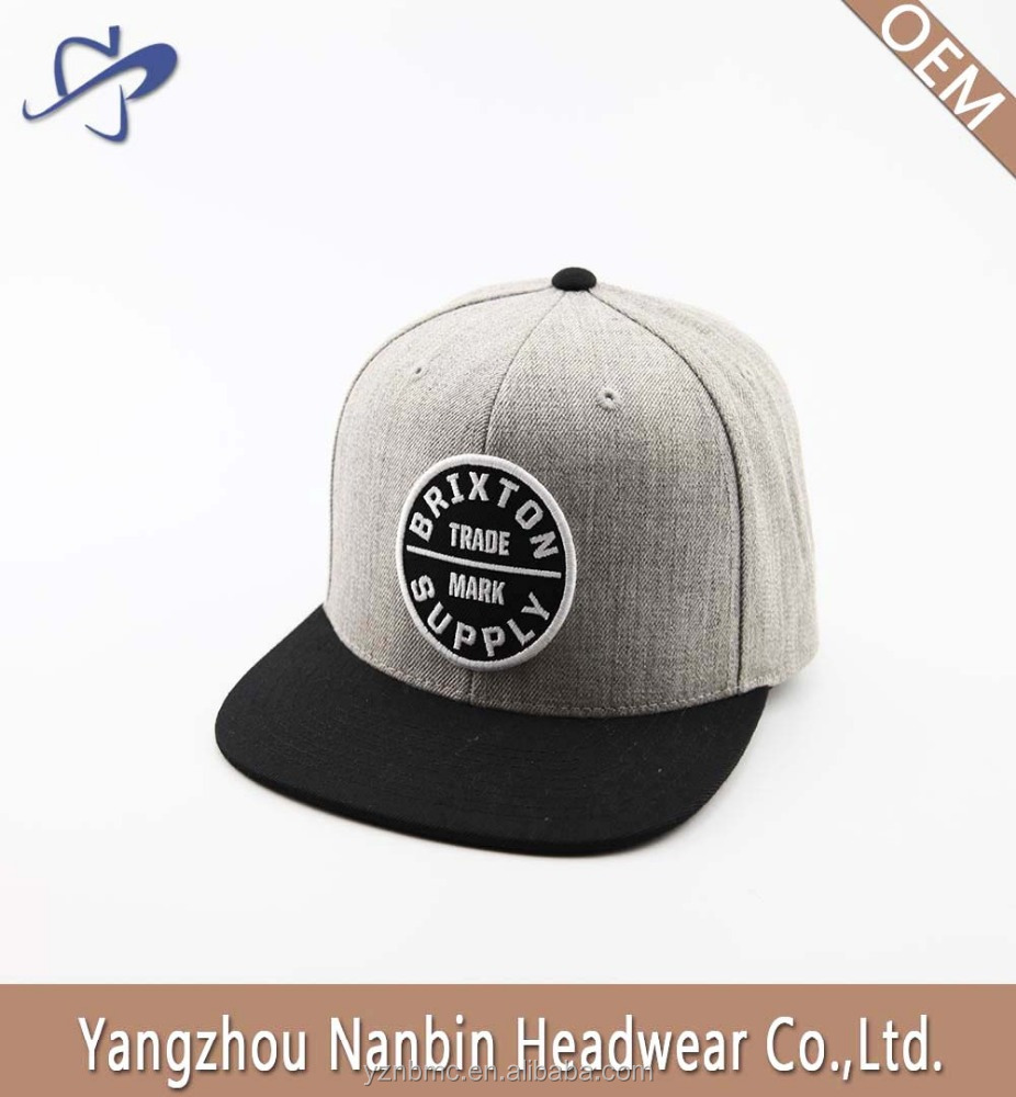 OEM High quality custom fashion 5 panel 80% acrylic 20% wool snapback hat cap with woven label applique embroidery for gift
