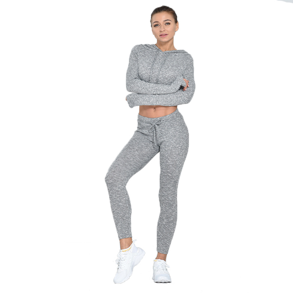 Toplook Private Label Long Pure Yoga Set Slimming Sports Sexy Umbilical Knit Fitness Suit S345