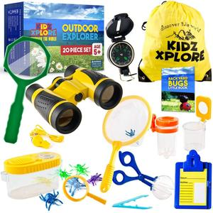 20 Pack Exploration Kit for Children Outdoor Games with Mini Binoculars for Kids, Compass, Whistle, Magnifying Glass + eBook