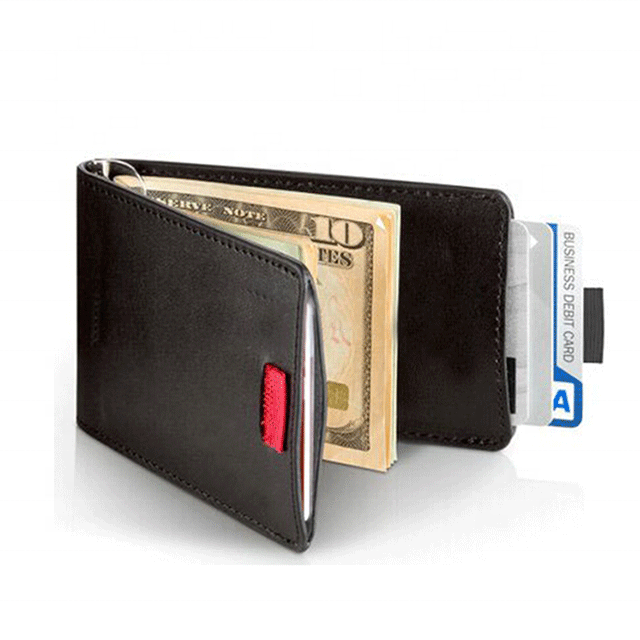 Genuine leather money clip wallet, Puller wallet money clip, Wholesale money clip card holder