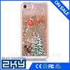 Hot Cute Santa Claus Glitter Star Flowing Liquid Case For iPhone 5 5S 6 6Plus Christmas Tree Transparent Clear Cover Phone Cases