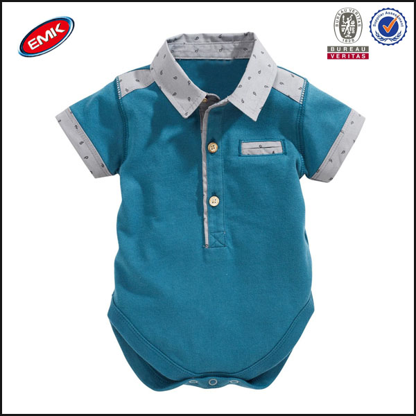 baby plain blue romper cute rompers for baby boy polo babywear with fake pocket