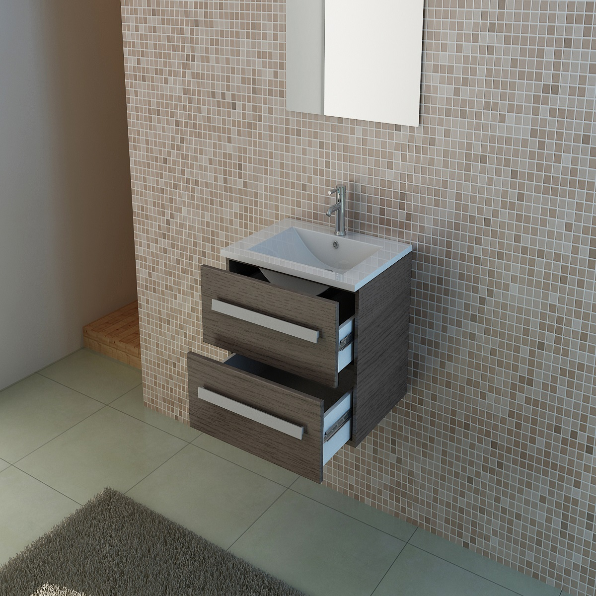 Melamine Bathroom Storage Wall Cabinet With Artificial Stone Basin