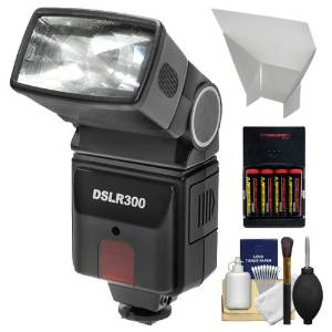 Precision Design DSLR300 Universal High Power Auto Flash with Zoom/Bounce/Swivel Head for Digital SLR Cameras + Bounce Flash Reflector + Batteries & Charger + Cleaning Kit