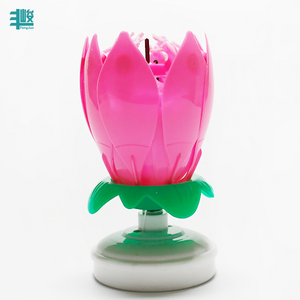 New design pink red color unique lotus shape music opening musical birthday flower candle