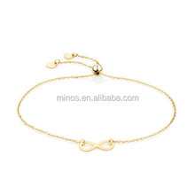 New Design Gold Plated Stainless Steel Adjustable Infinity Bracelet