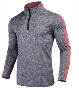 Men's 95% Polyester 5% Spandex Long Sleeve T Shirt OEM Quarter Zip Running Shirt