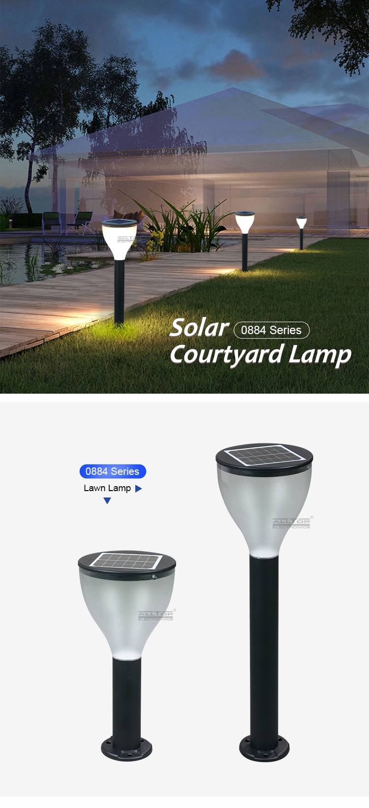 ALLTOP intergrated waterproof ip65 outdoor lighting all in one 3w solar led garden light price