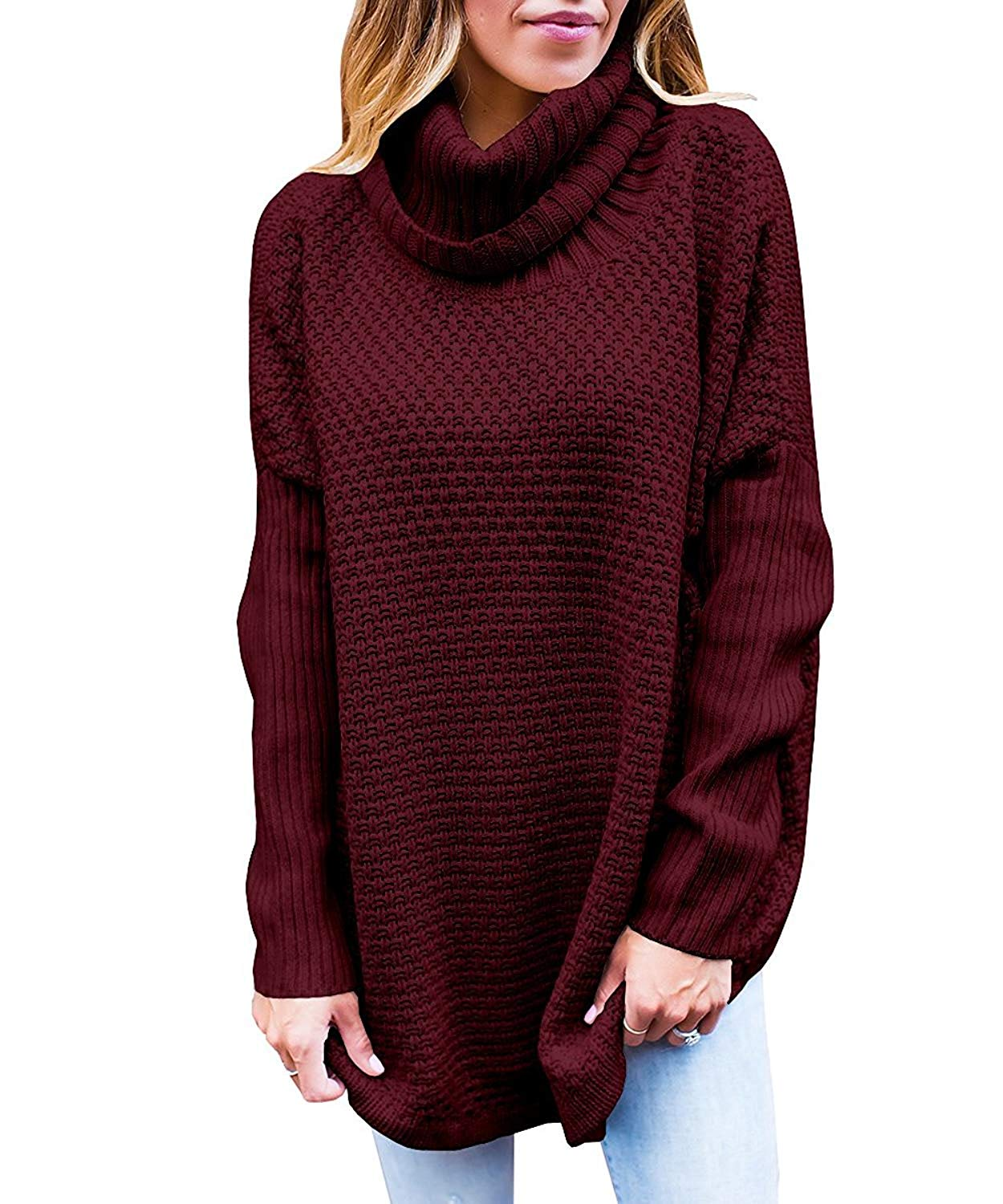 VOKY Womens Long Sleeve Sweaters Knitted Cowl Neck Loose Fit Oversized Pullovers Tops