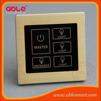 Wall electrical light switch 5 gang 2 way touch screen switch