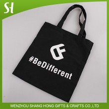 wholesale China custom logo black be different canvas cotton shopping shoulder bag for school student library promotion