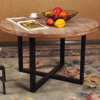 European Style Solid Recyclable Wood Vintage Industrial Style Round Dining  Table