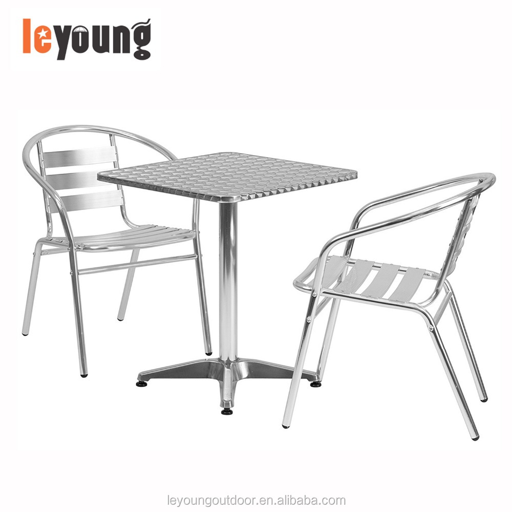Aluminum Bistro Table And Chair, 1 Square Table+ 2 Armrest Chairs