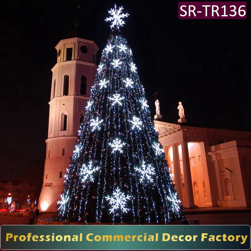 Outdoor 10m 12m 15m giant christmas tree with led snowflake decoration