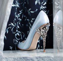 Туфли-лодочки на металлическом каблуке с золотыми листьями; женская обувь с острым носком на высоком каблуке-шпильке; свадебные туфли; цвет ...(Китай)
