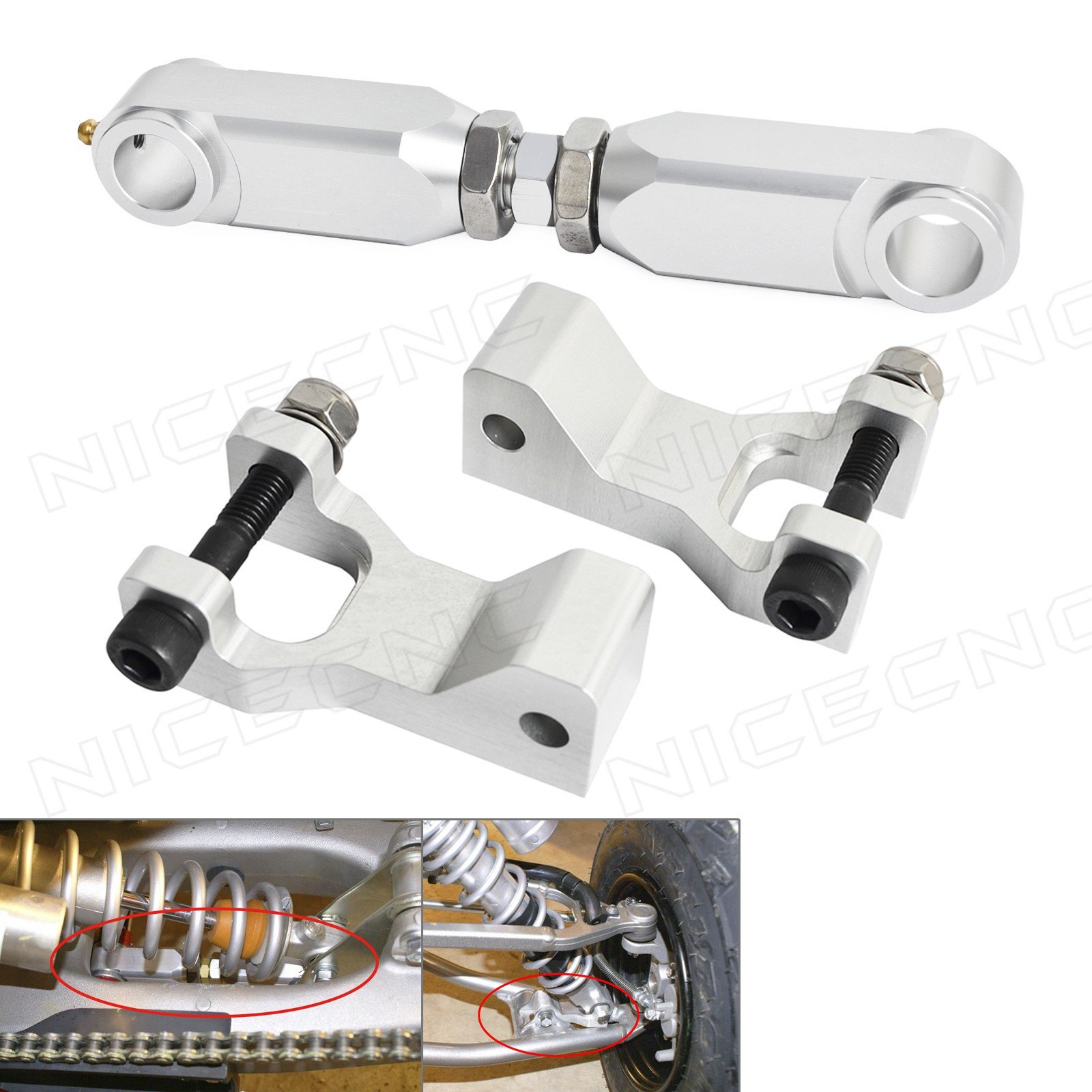 "NICECNC Silver ATV 3.5"" Front & Rear Lowering Kit for Raptor 350 YFM350 2004-2013 660 660R YFM660R 2001 2002 2003 2004 2005 700 700R YFM700 2006-2017 Y-ama-ha"