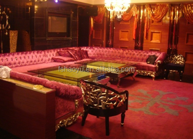 Wholesale Red Fabric Bar Couch Disco Long Sofa Hotel