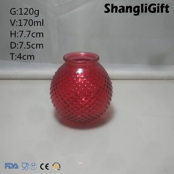 170ml Colored Ball Glass Candle Holder with Dot Pattern