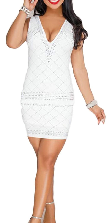 c93d6755f9762 Get Quotations · CBTLVSN Womens Sexy V Neck Rhinestone Sleeveess Bodycon  Clubwear Mini Dress